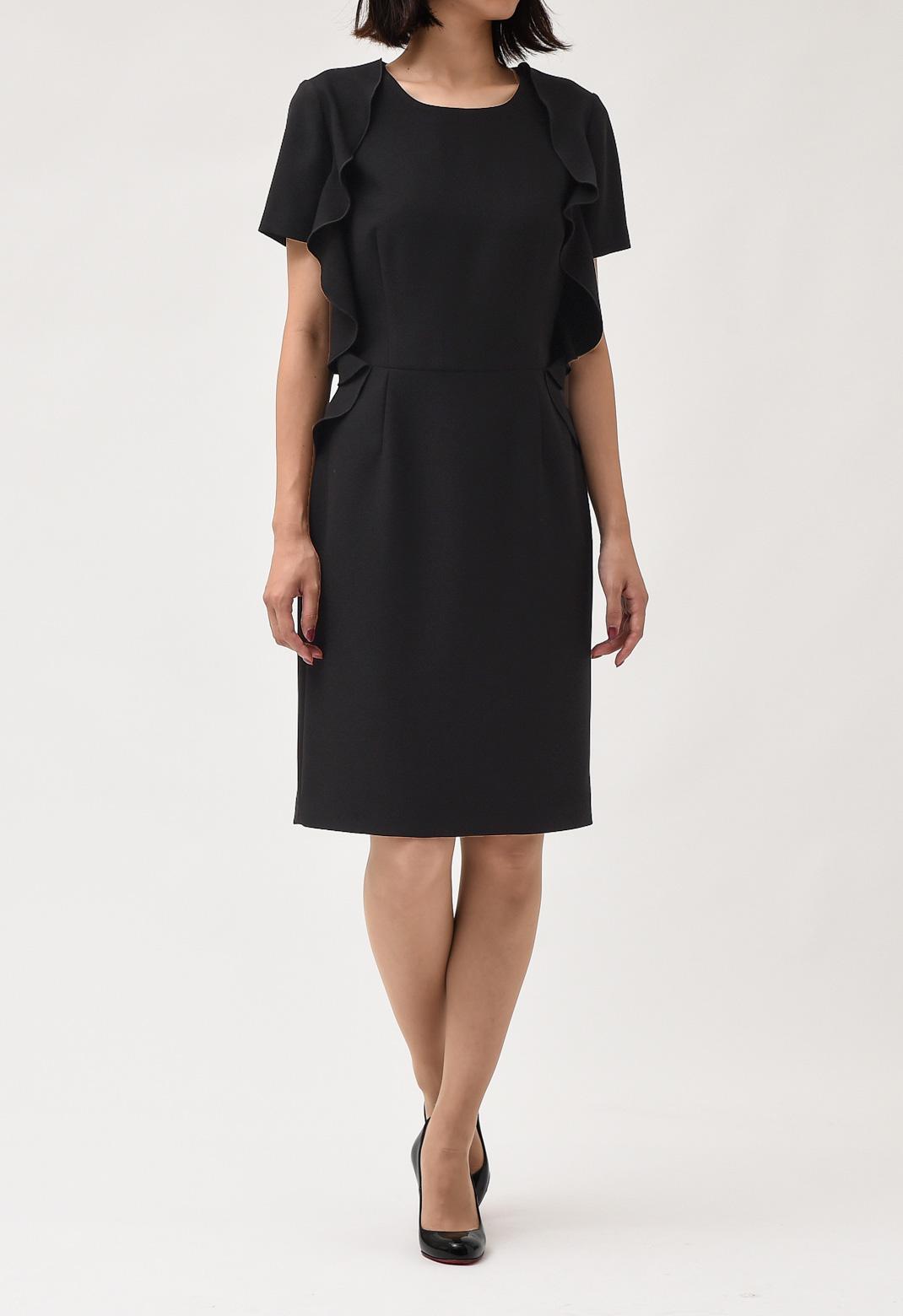 サイドフリル クルーネック 半袖 ドレス