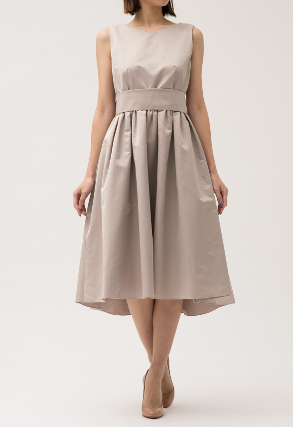 ウエストリボン ノースリーブ ドレス
