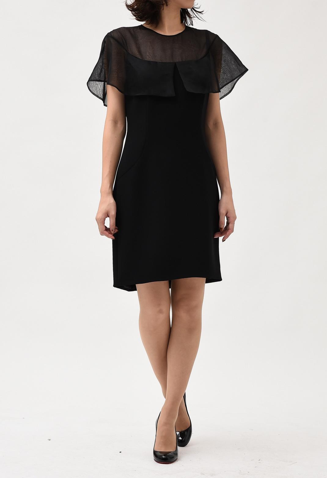シースルー切替 半袖 ドレス