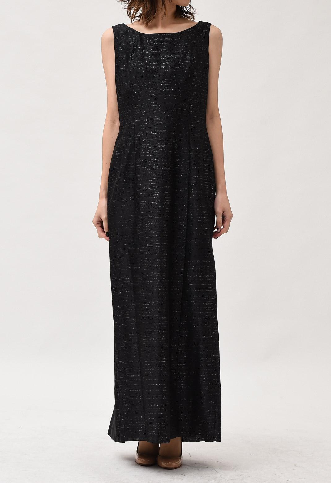 ラメ混 ノースリーブ ロング ドレス M~L