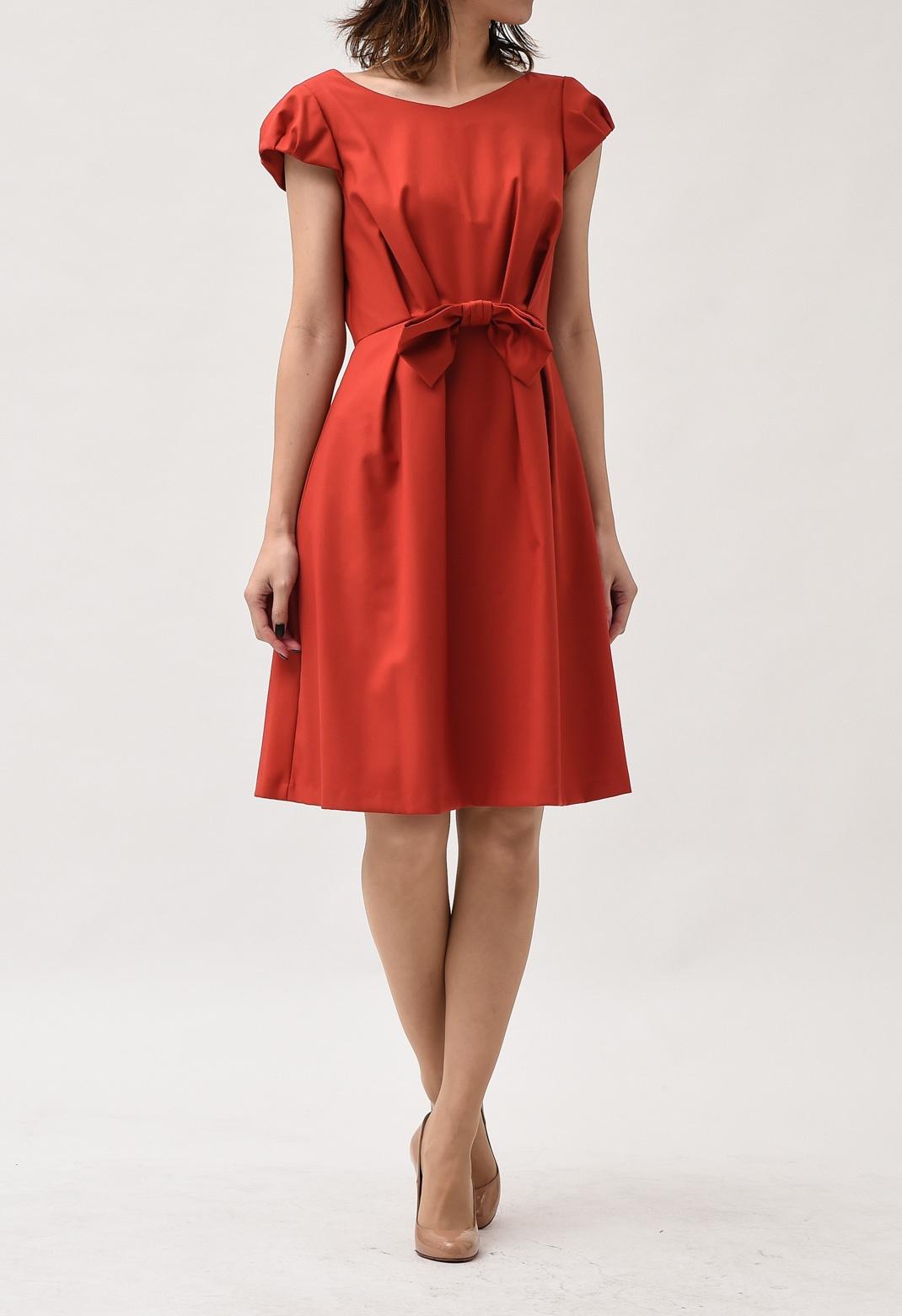 ウエストリボン フレンチスリーブ ドレス