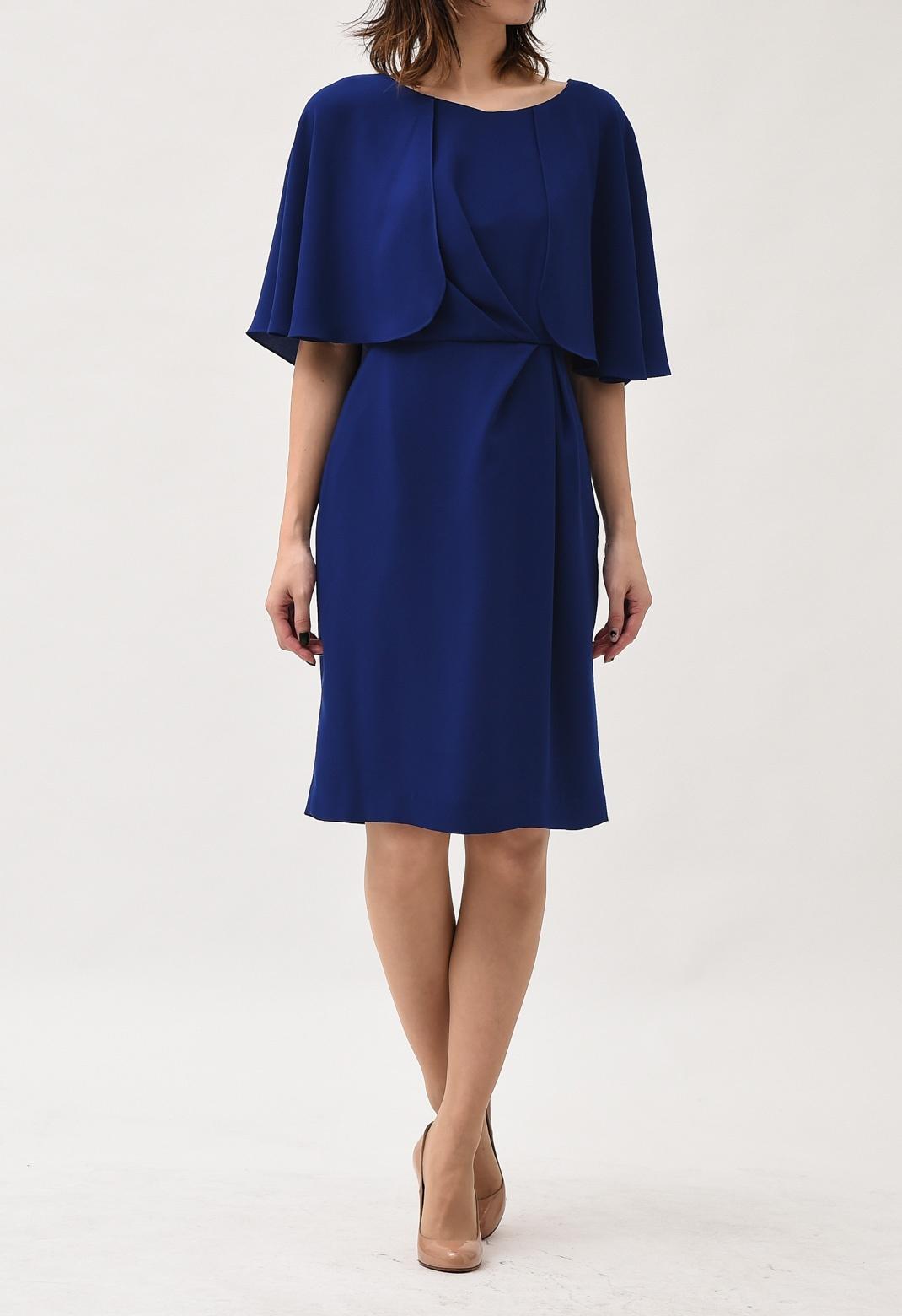 ケープ風 フロントドレープ 半袖ドレス