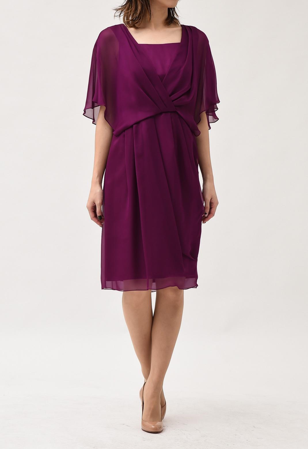 カシュクール風ドレープ 半袖ドレス M