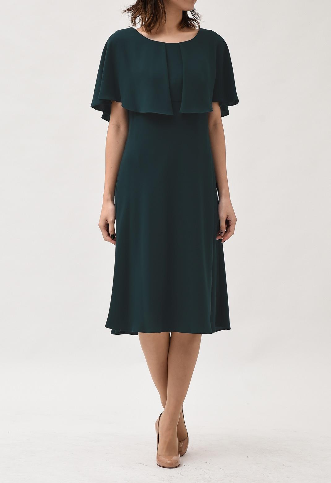ケープ風レイヤード 半袖ドレス