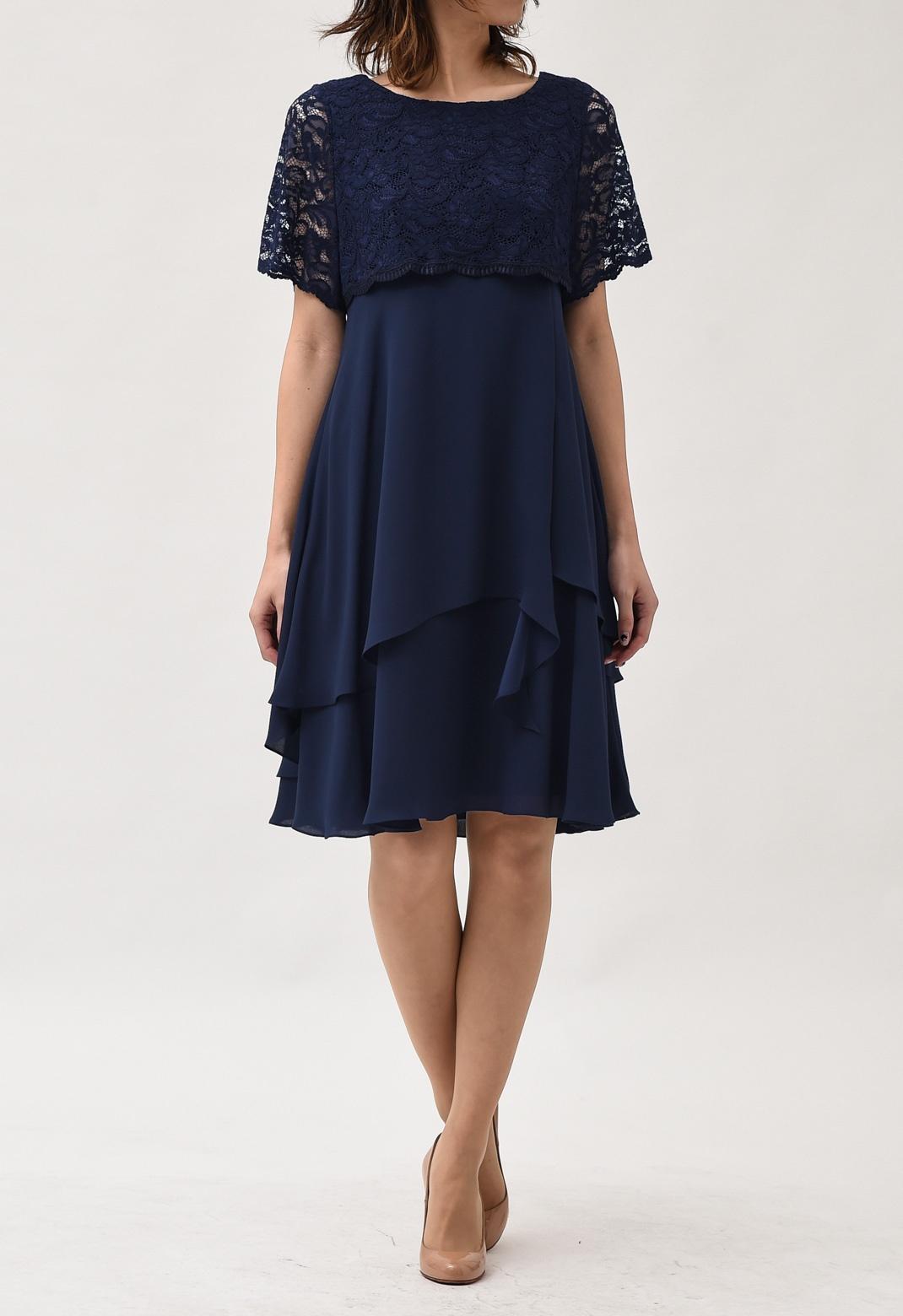 レース×シフォン ティアードスカート 半袖ドレス