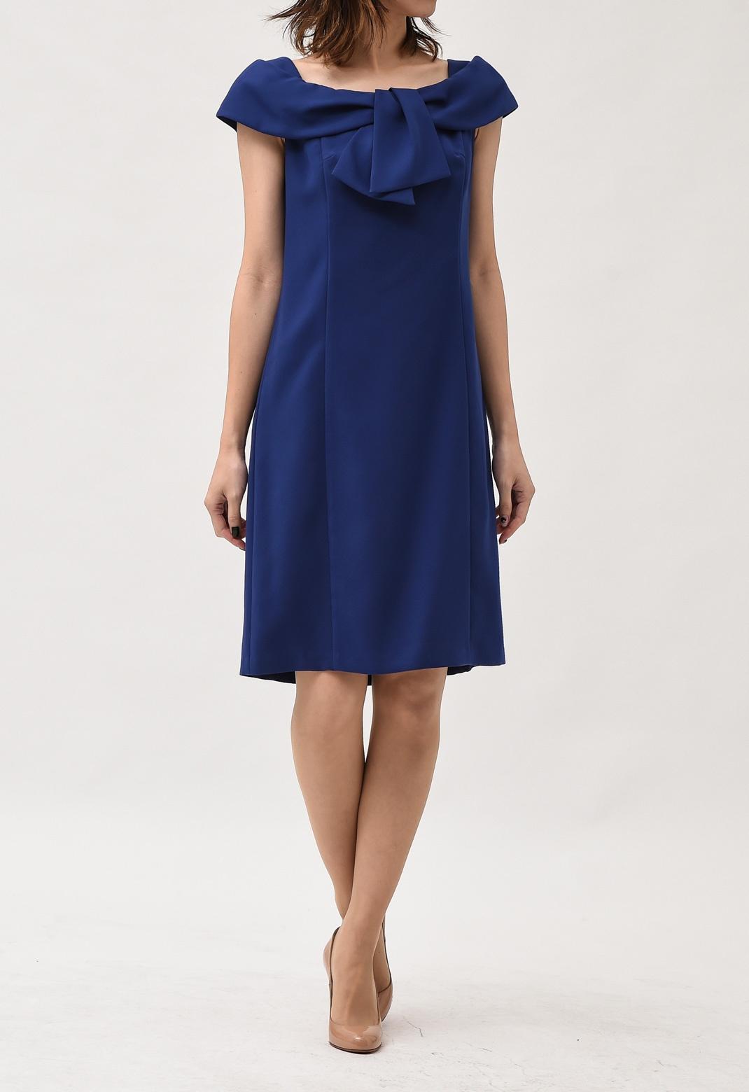 胸元リボン フレンチスリーブ ドレス