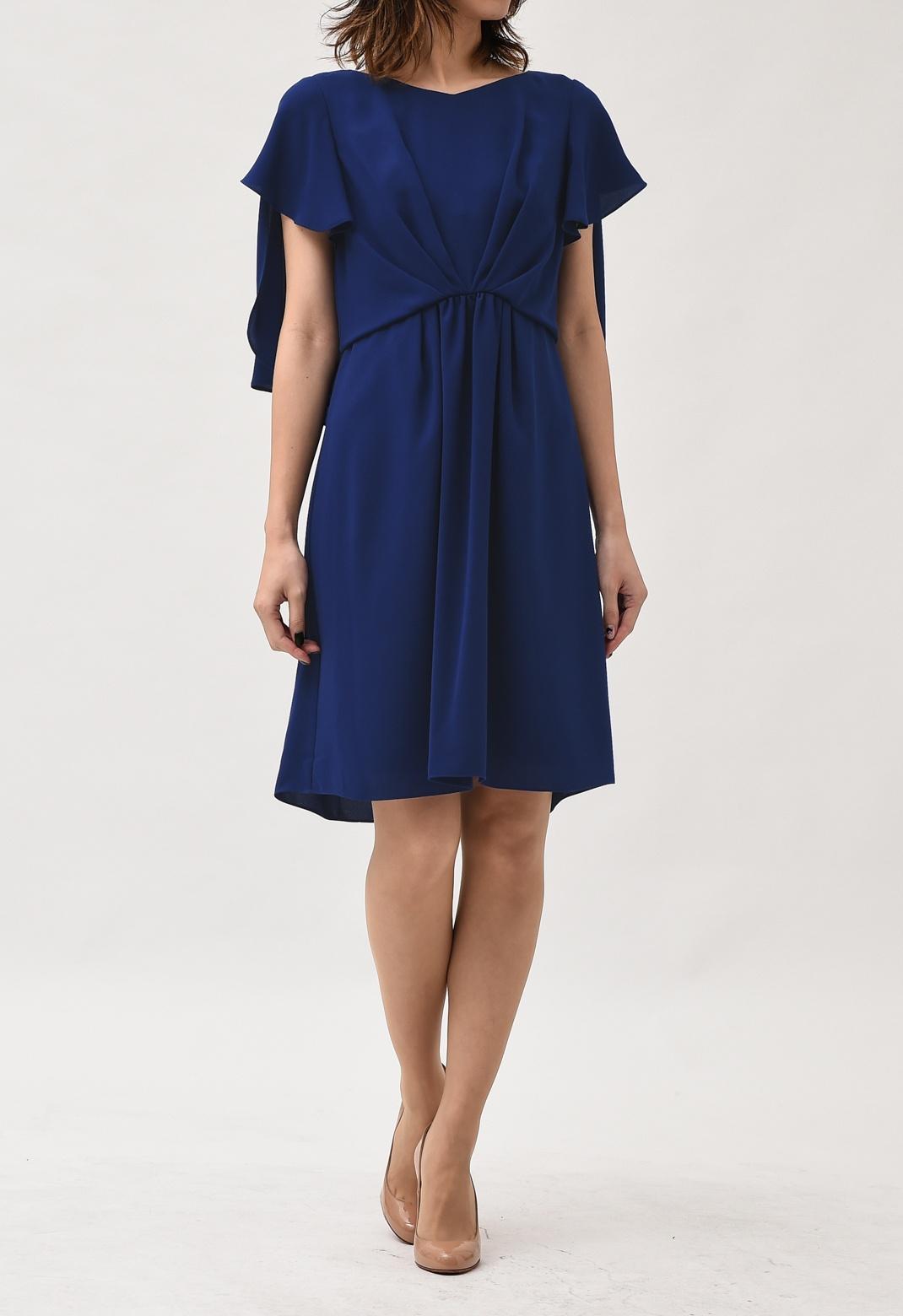 フロントドレープ バックケープ風 半袖ドレス