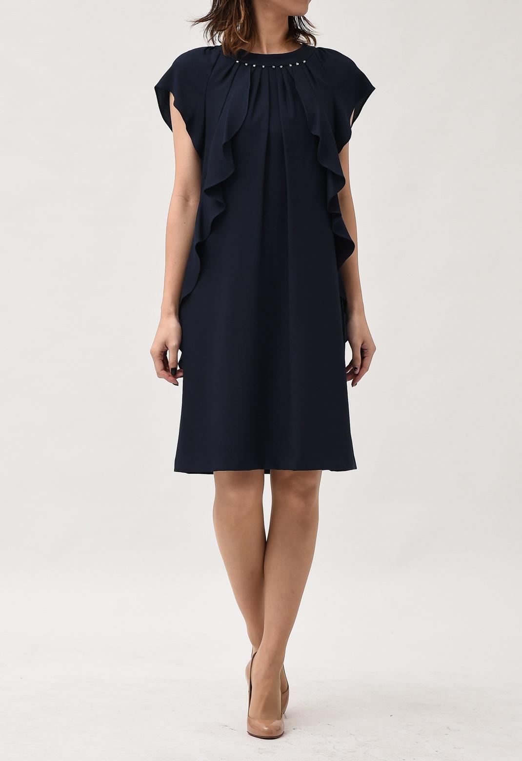 ネックビーズ刺繍 サイドフリル 半袖ドレス M