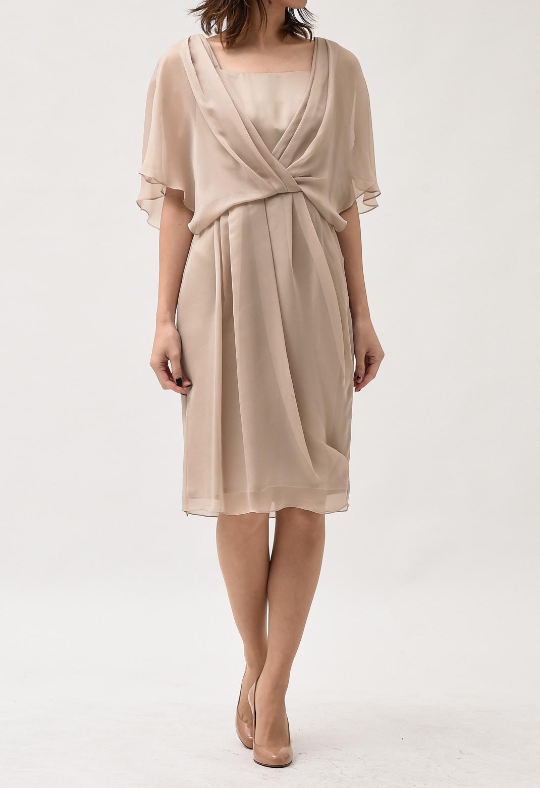 カシュクール風ドレープ 半袖 ドレス M
