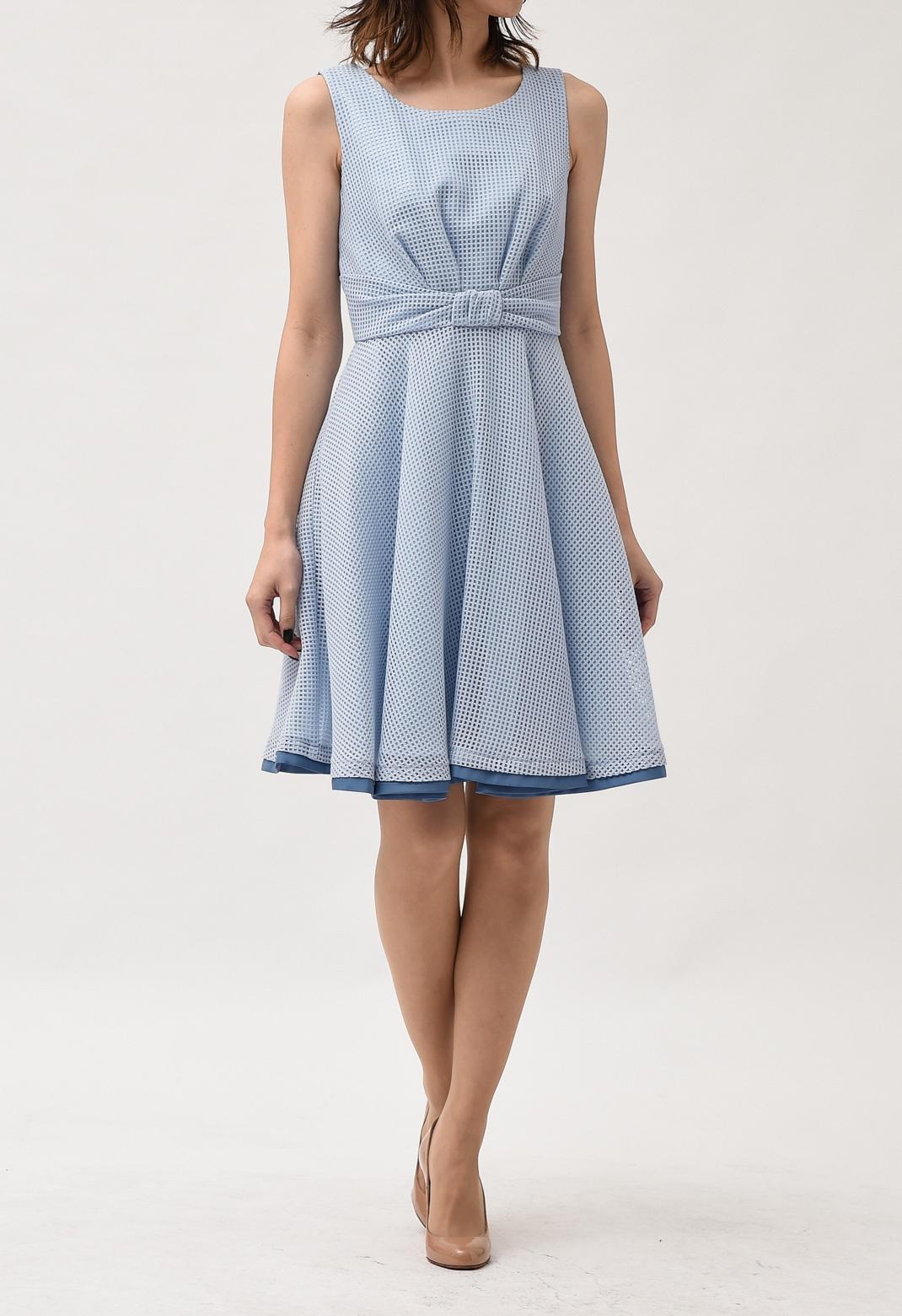 メッシュレース ウエストリボン ノースリーブ ドレス