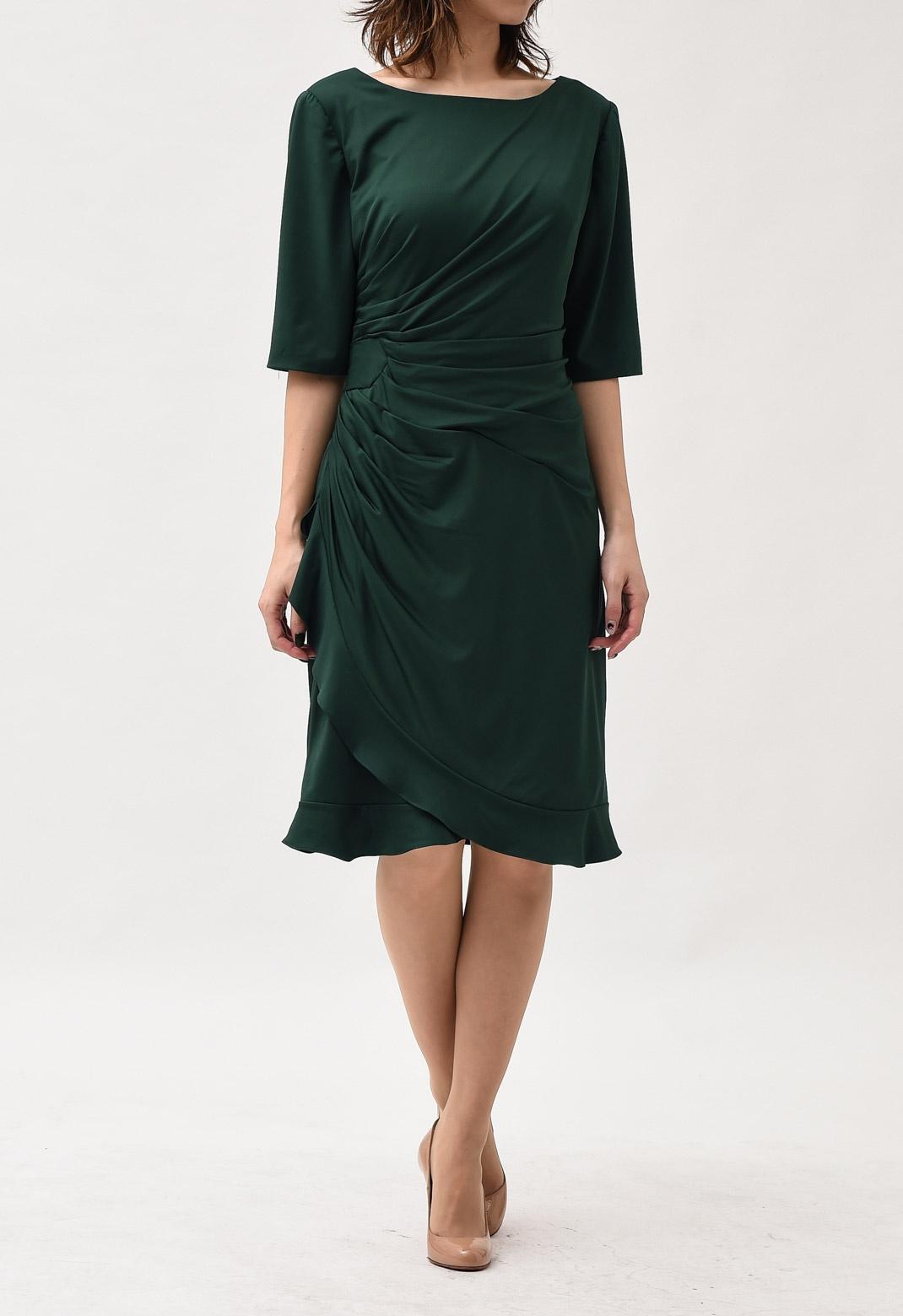 ウエストドレープ 五分袖ドレス