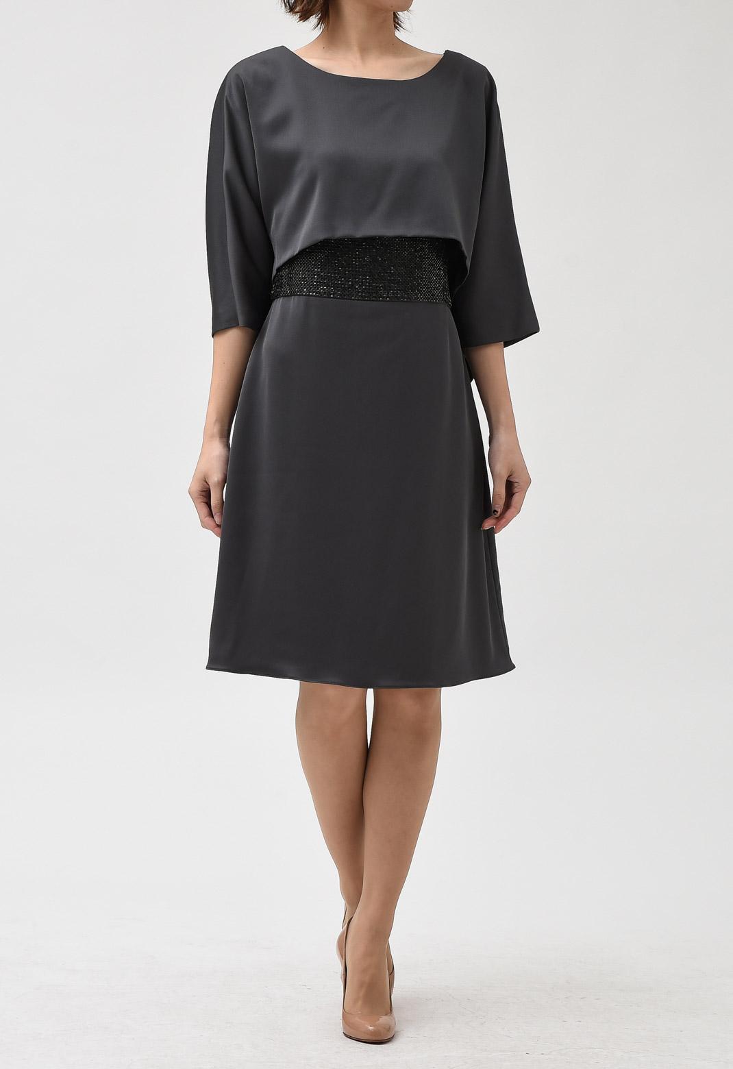 ビーズ 刺繍 ドルマンスリーブ ドレス