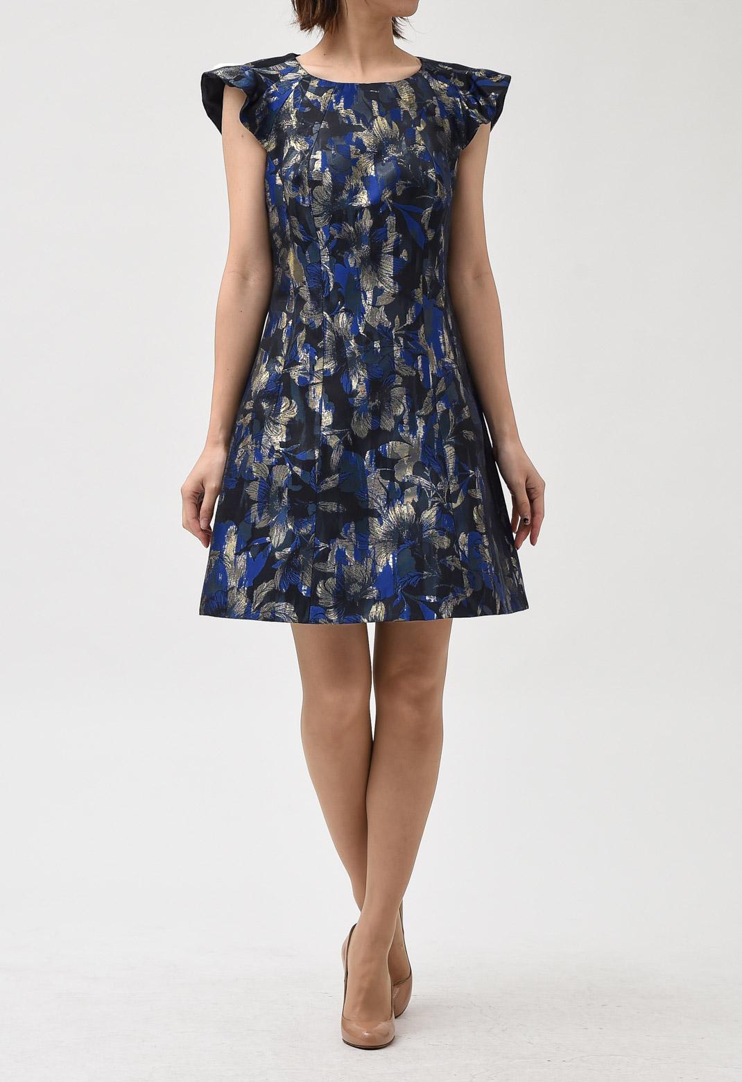花柄 ジャカード フリル×フレンチスリーブ ドレス