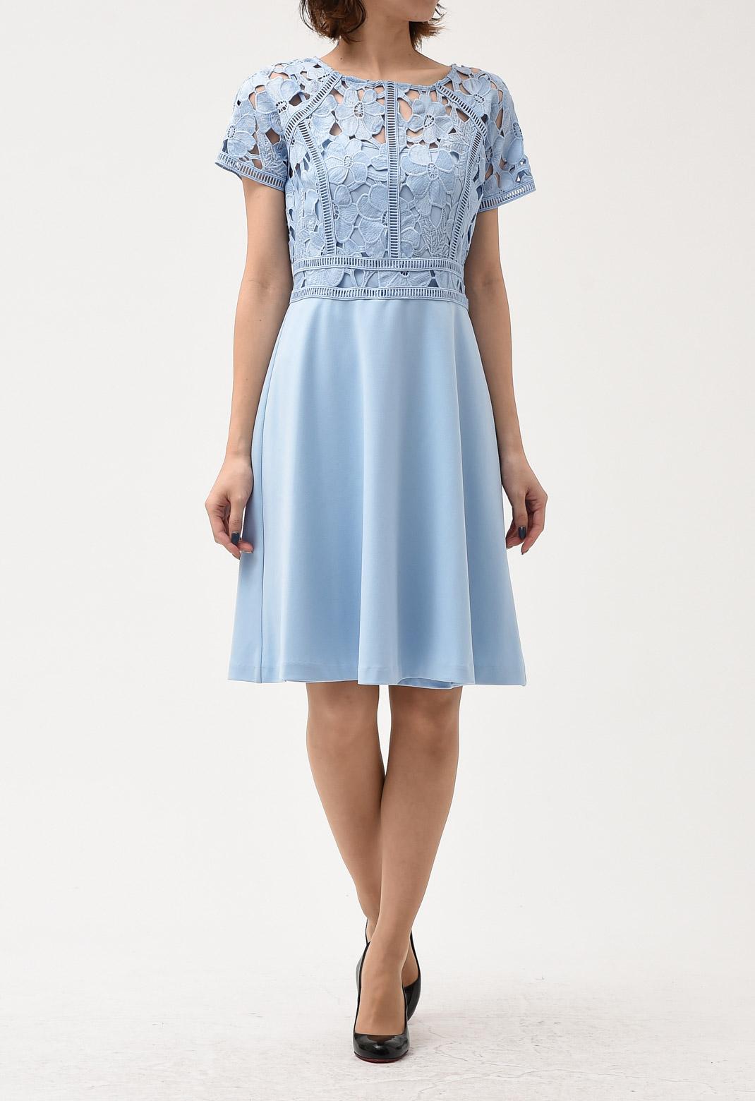 花柄× フレアースカート切替 ドレス