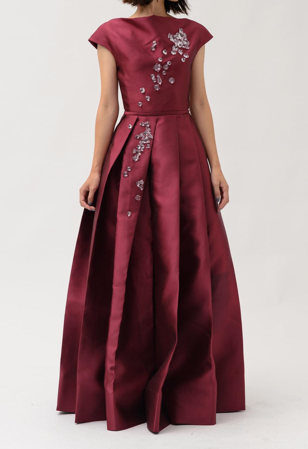 フロントビジュー飾り フレンチスリーブ ドレス