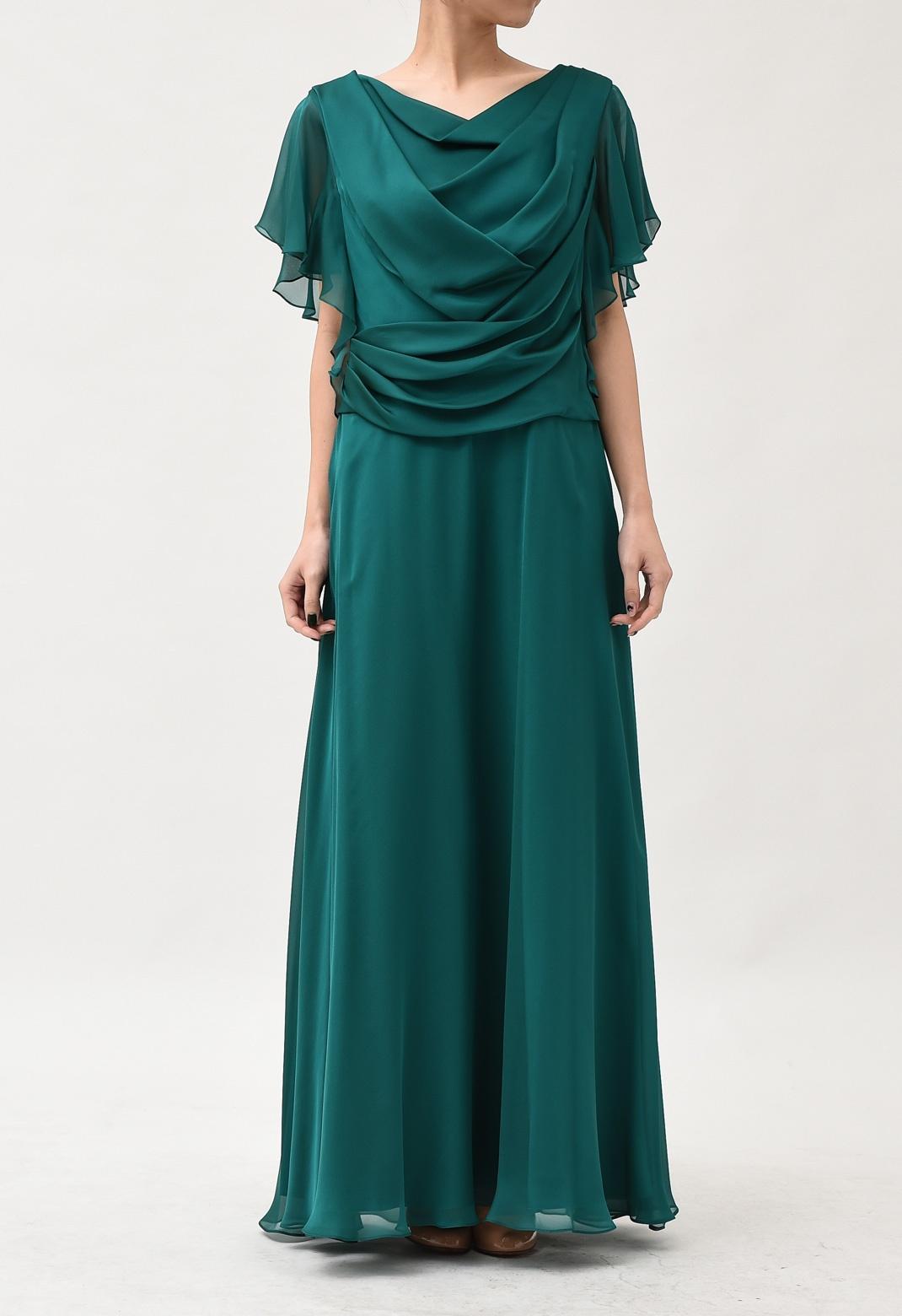 カシュクール風ドレープネック 半袖 ロングドレス