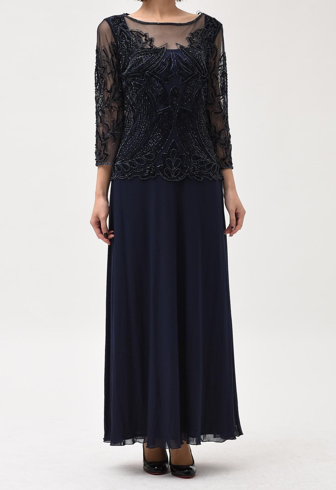 ストレッチ チュール×ビーズ 刺繍 ロング ドレス<US6サイズ>