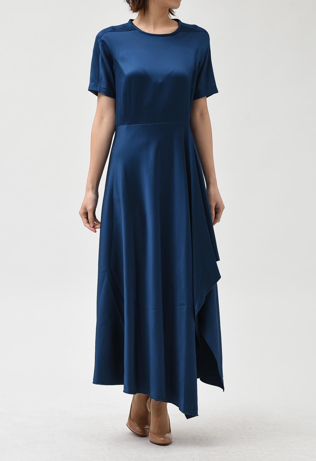 サテン アシンメトリー 半袖 ロング ドレス