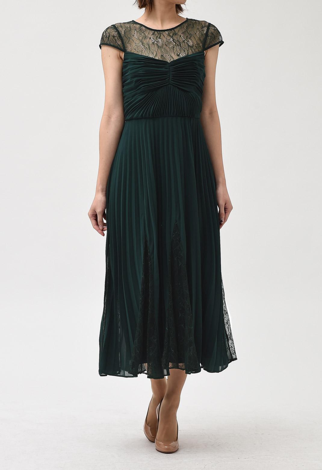 レース切替× プリーツ ミディ丈 ロング ドレス