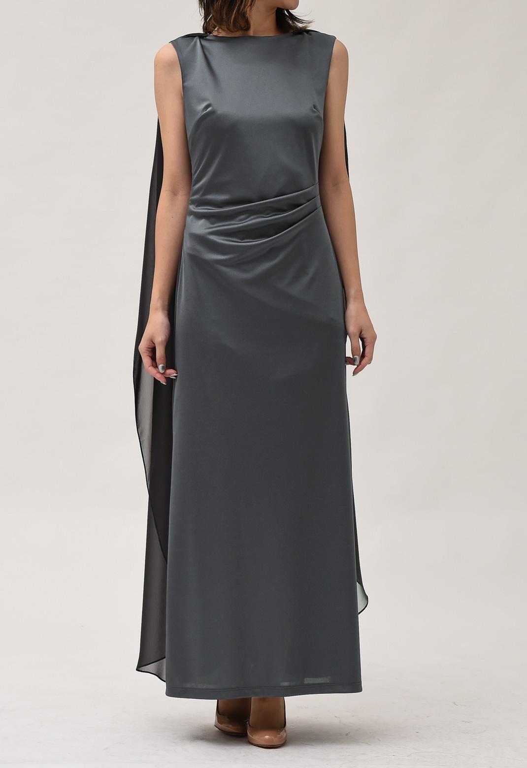 ケープ付き ストレッチ サテン ロング ドレス