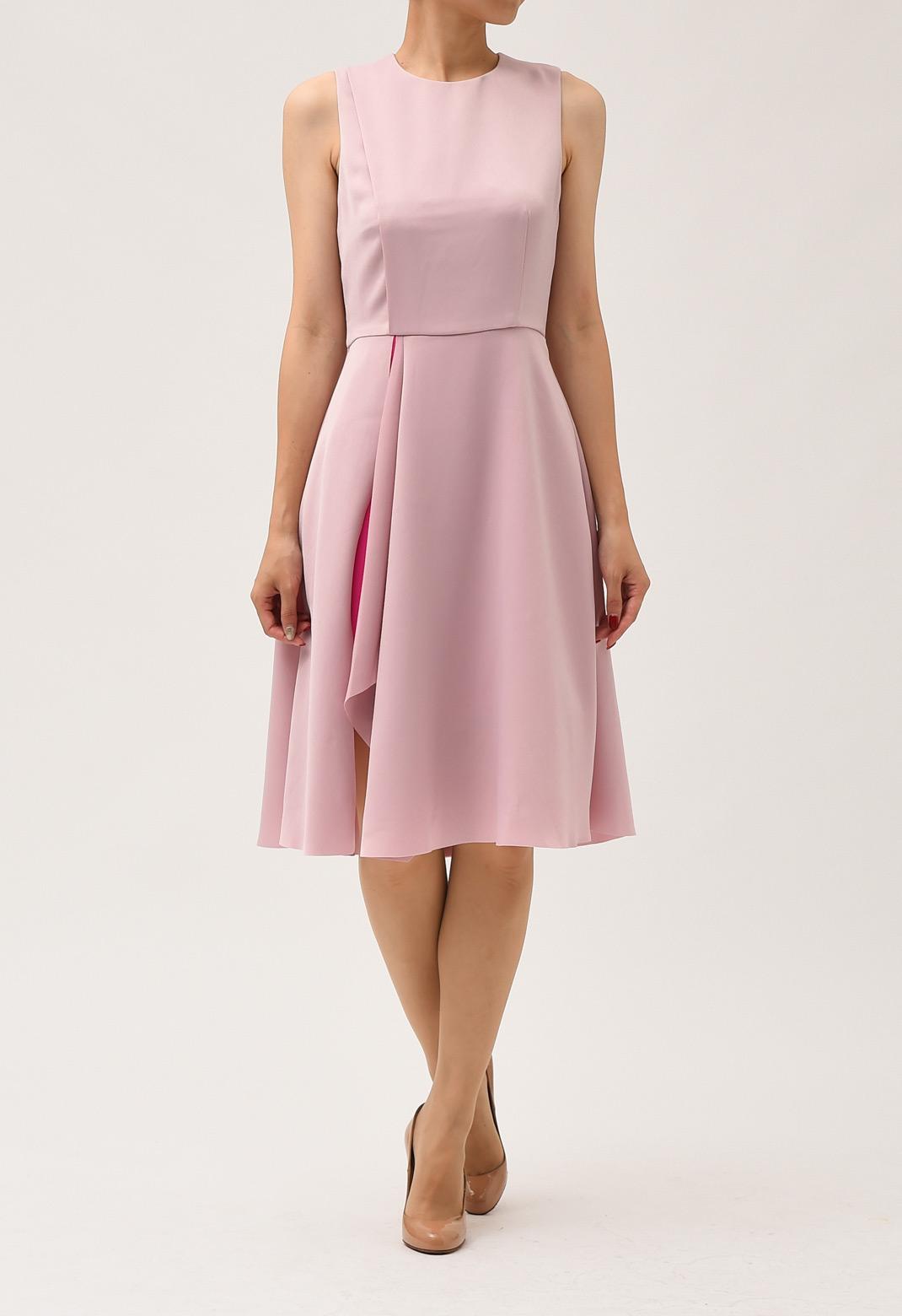 配色 レイヤード ノースリーブ ドレス