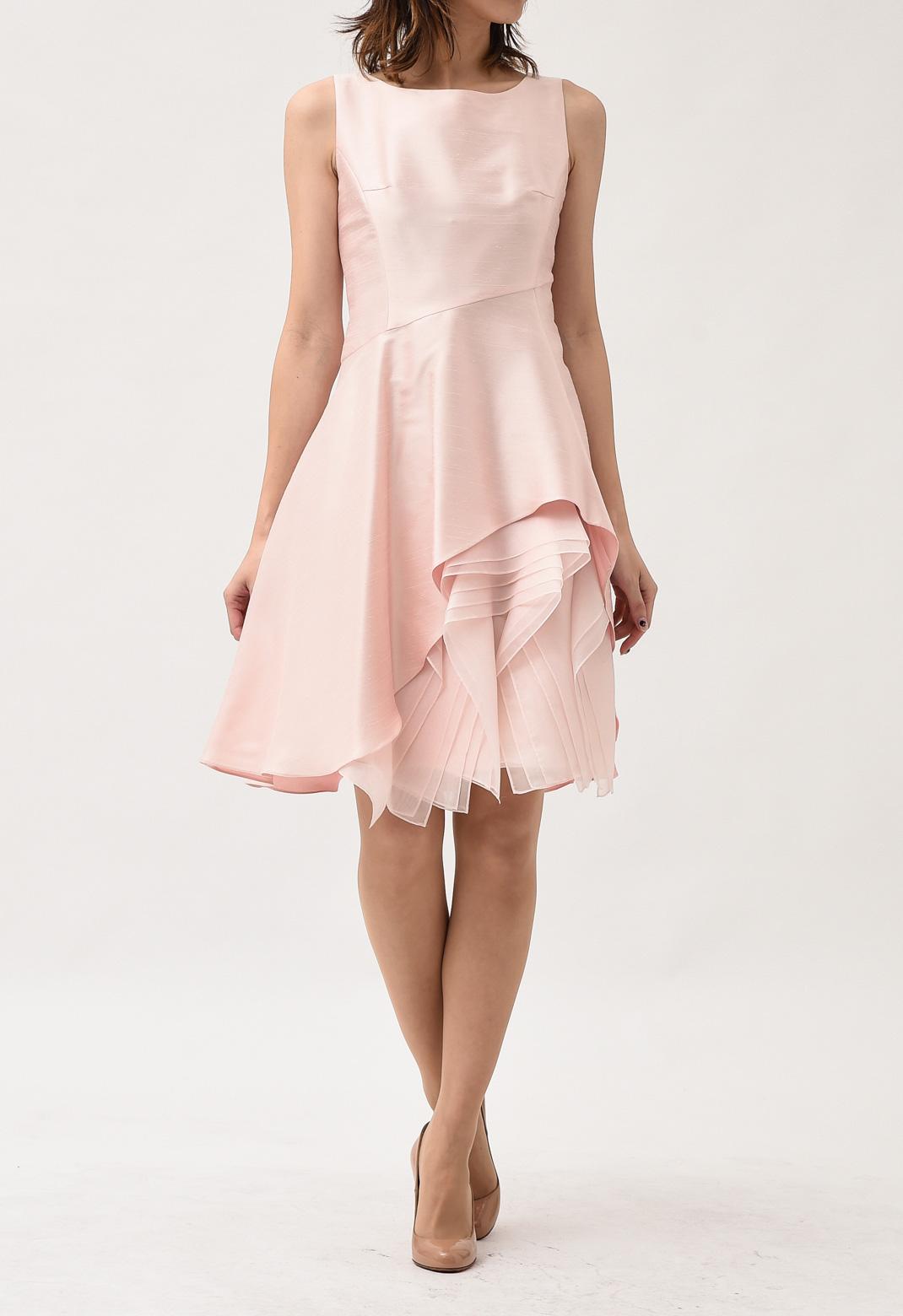 裾アシンメトリー ノースリーブ ドレス