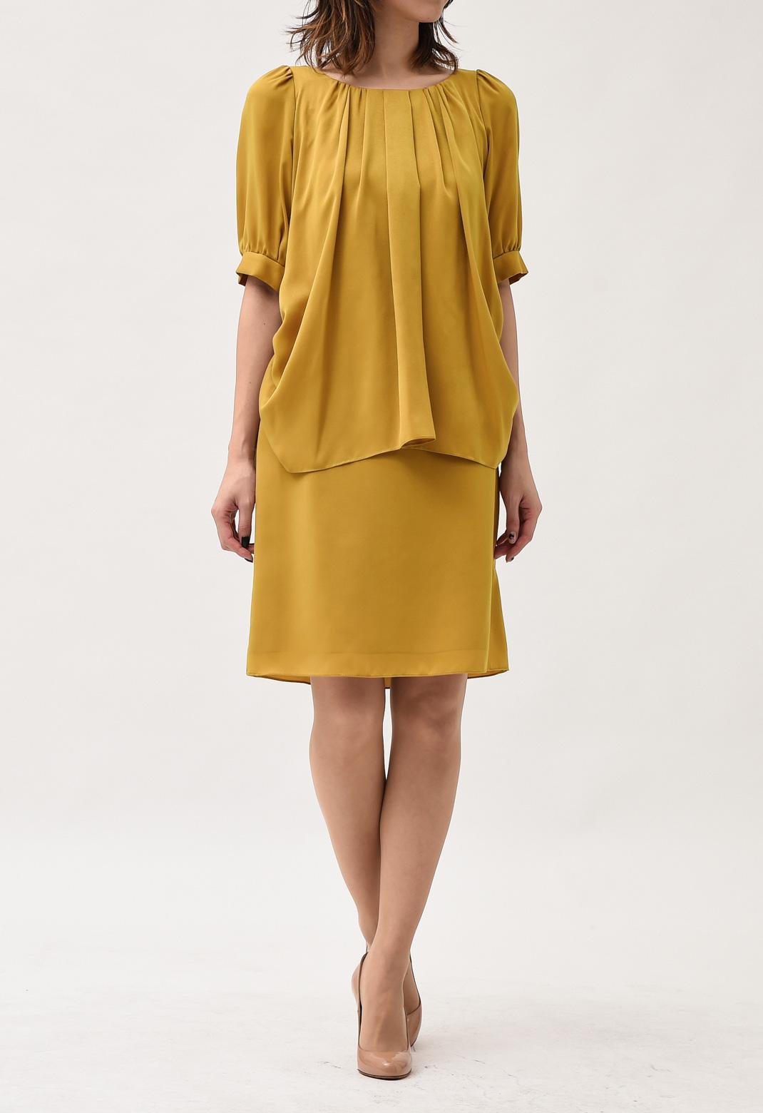 フロントタック 半袖ドレス