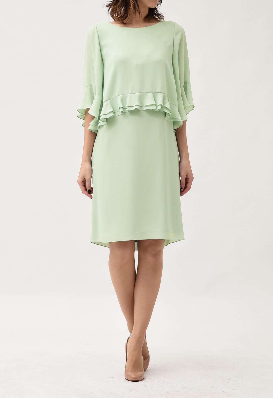 ウエストペプラム 半袖 ドレス