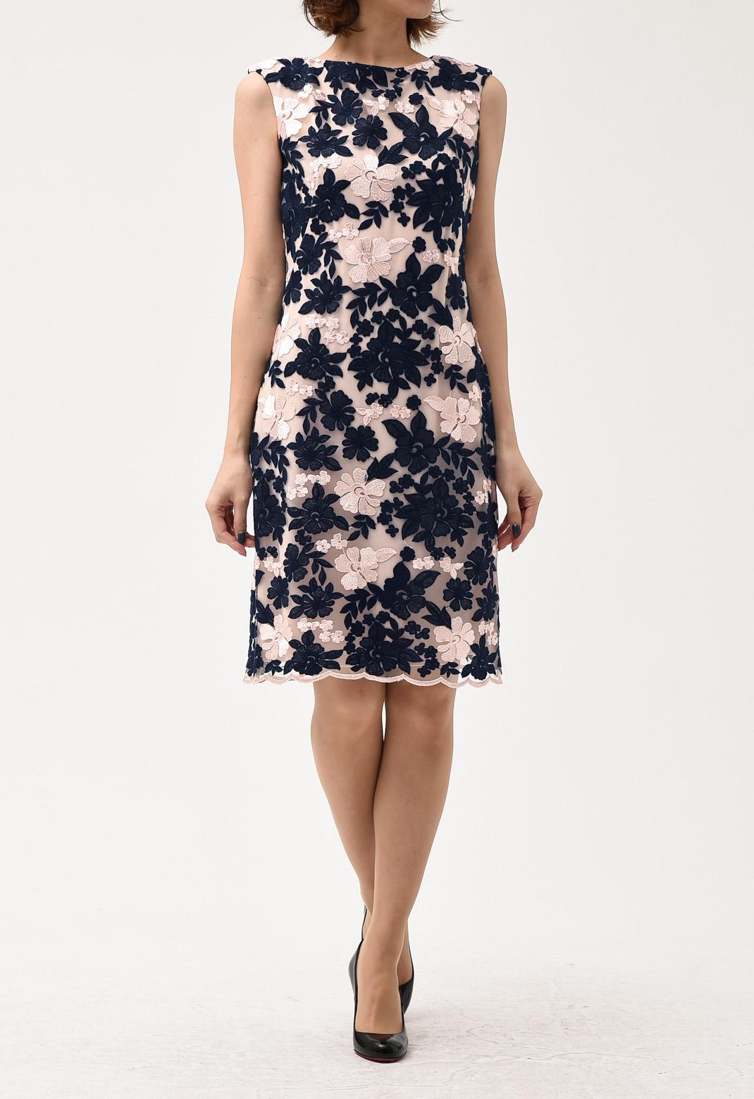 ラルフローレン ピンク× ネイビー フラワー 刺繍 ドレス