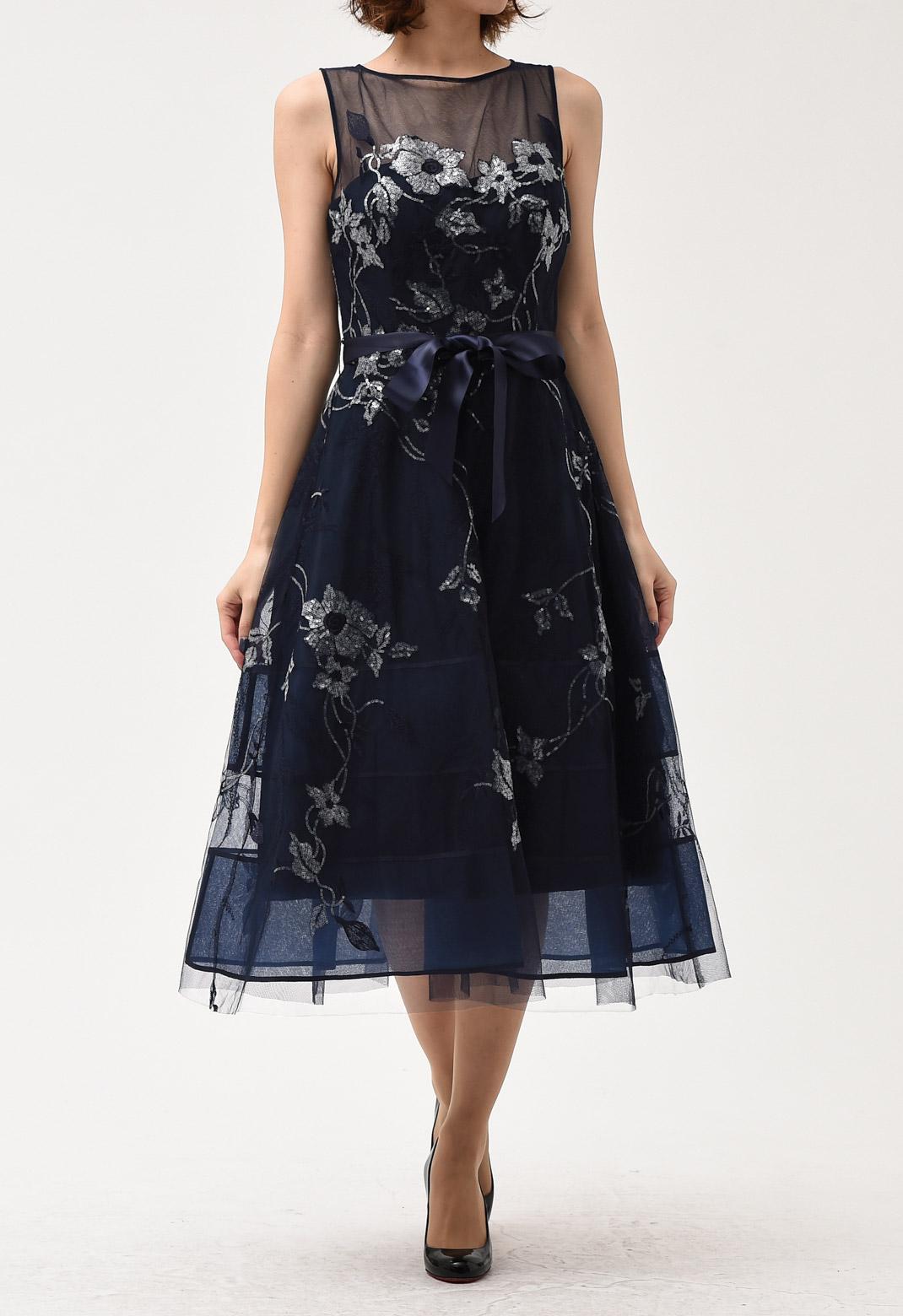 クリアビーズ 花柄 刺繍 サテンリボン ドレス