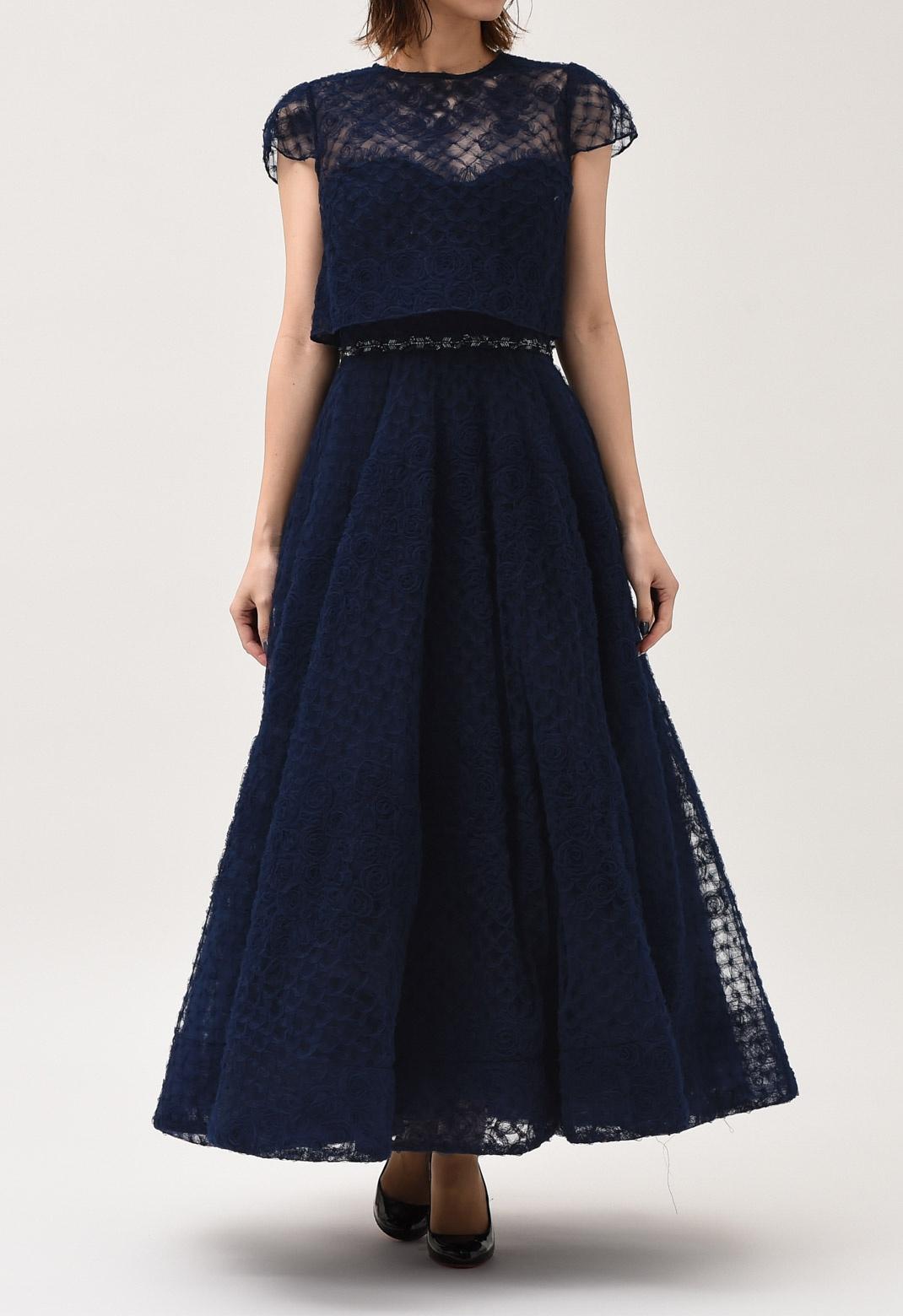 フラワーモチーフ チュール 半袖 ロング ドレス