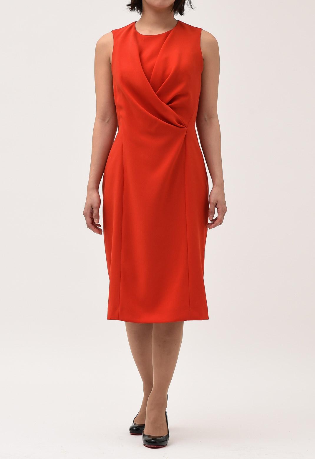 カシュクール風 ドレープ ノースリーブ ドレス