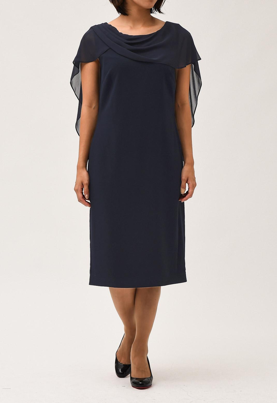 シフォン ケープ付き ドレープ ドレス