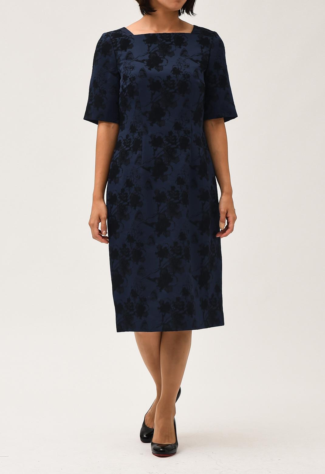 配色× 花柄 半袖 ドレス
