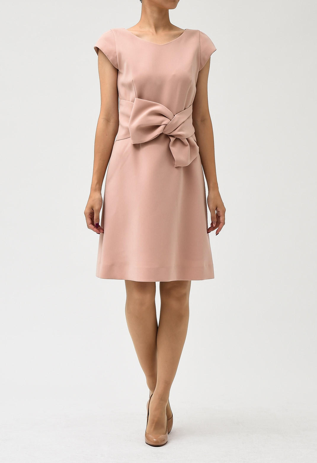 【オンライン限定】フレンチスリーブ リボン ドレス