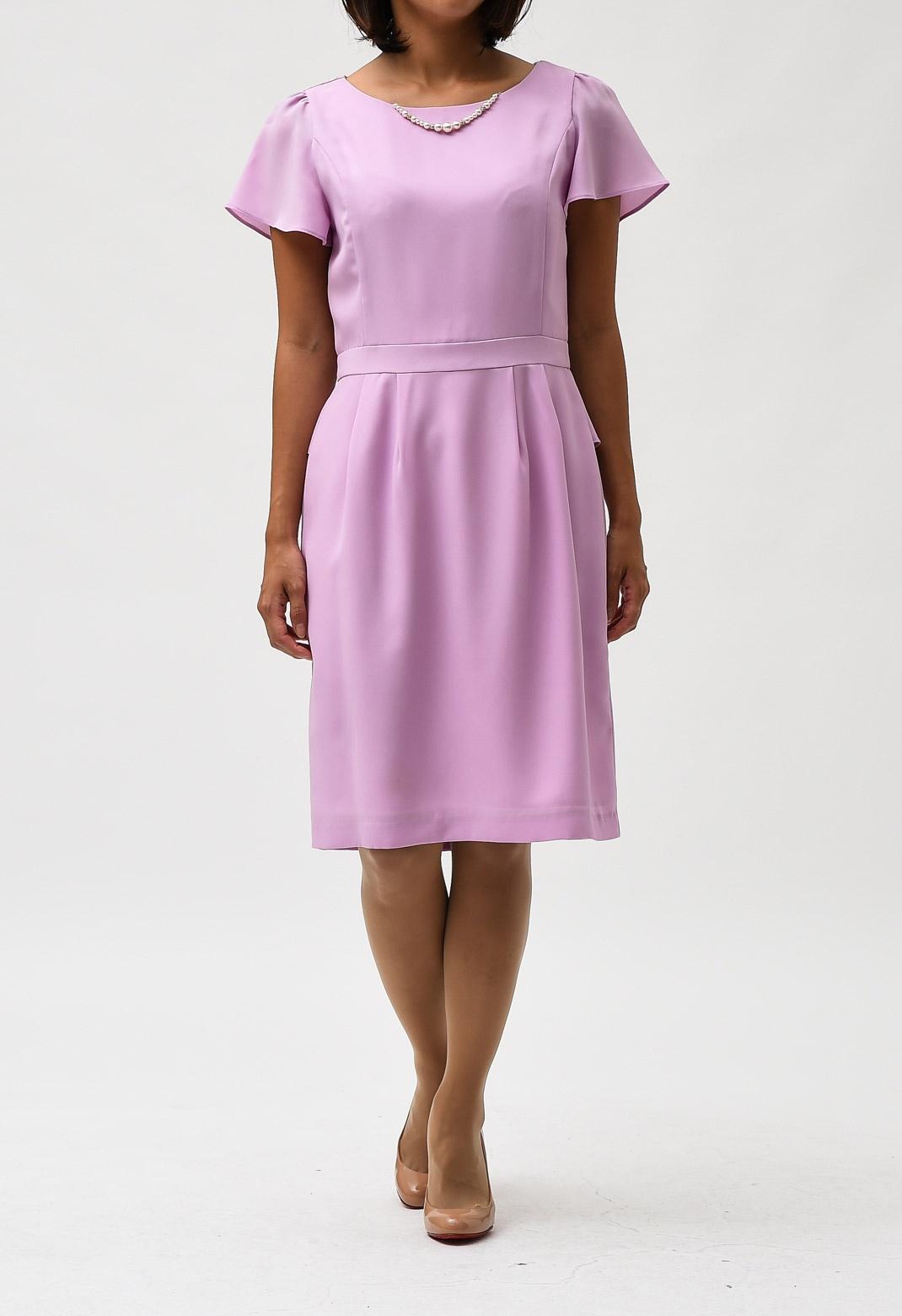 レース& ペプラムバック 半袖 ドレス