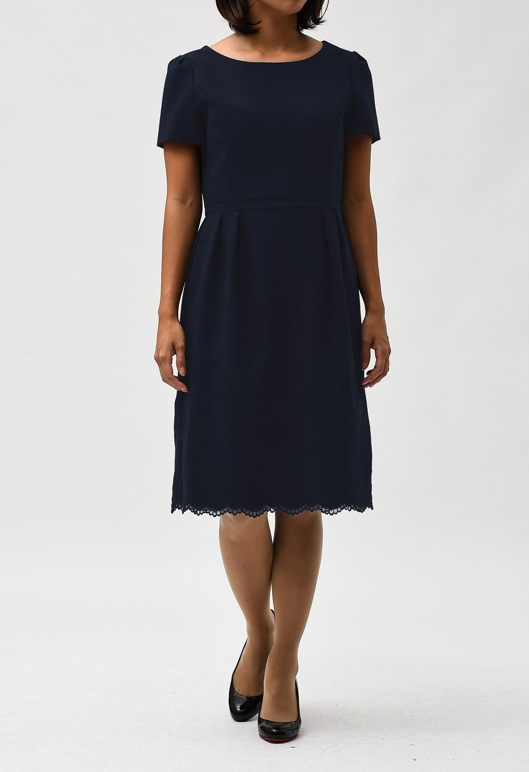 フラワー刺繍 半袖 ドレス