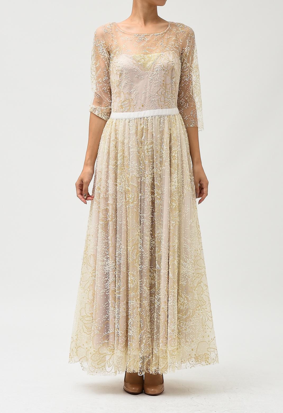 オーロラ× ゴールド ラメ 七分袖 ロング ドレス