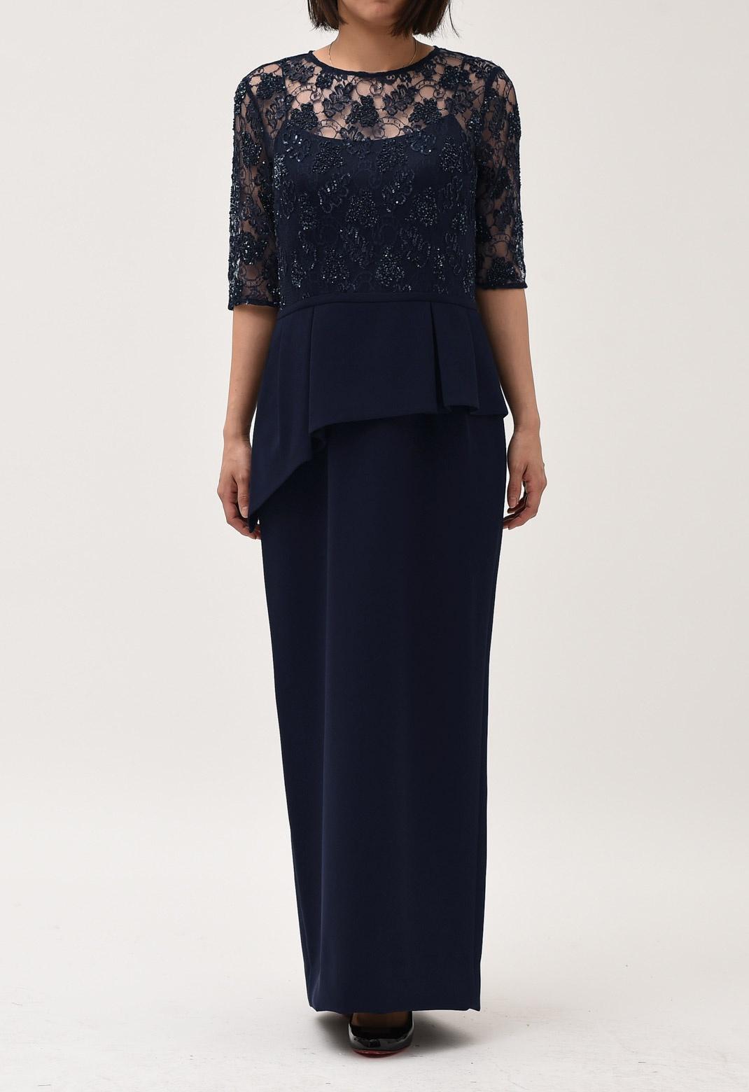 スパンコール 刺繍× ペプラム ロング ドレス