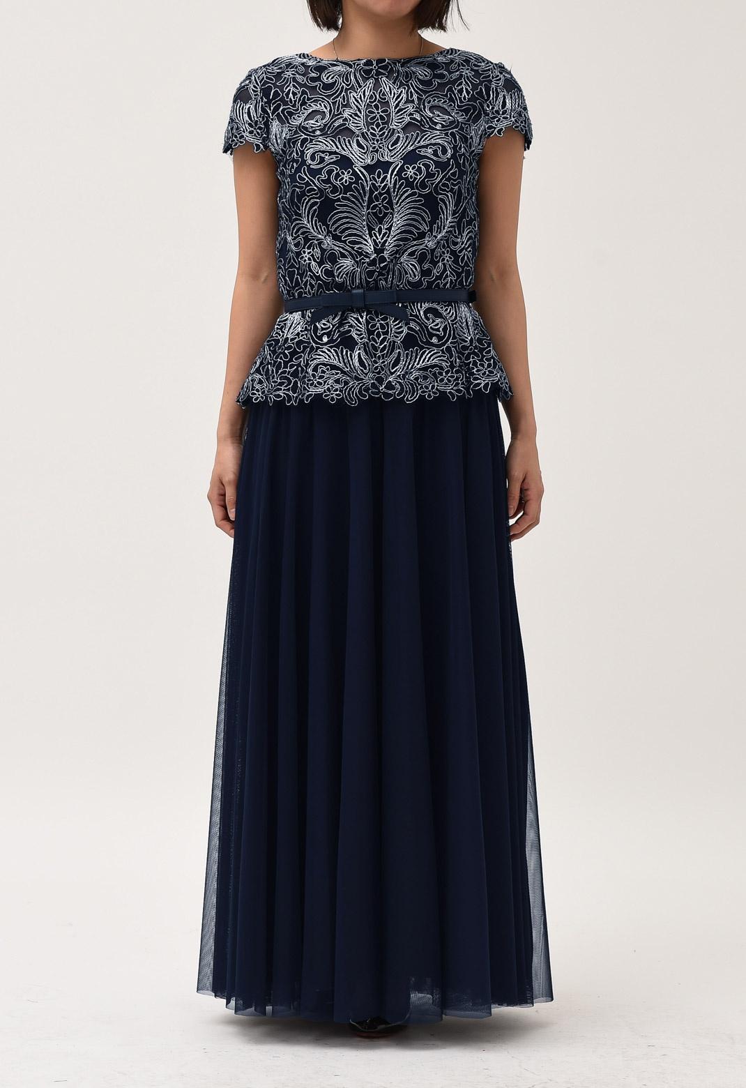 シルバー 刺繍 フレンチスリーブ ロング ドレス