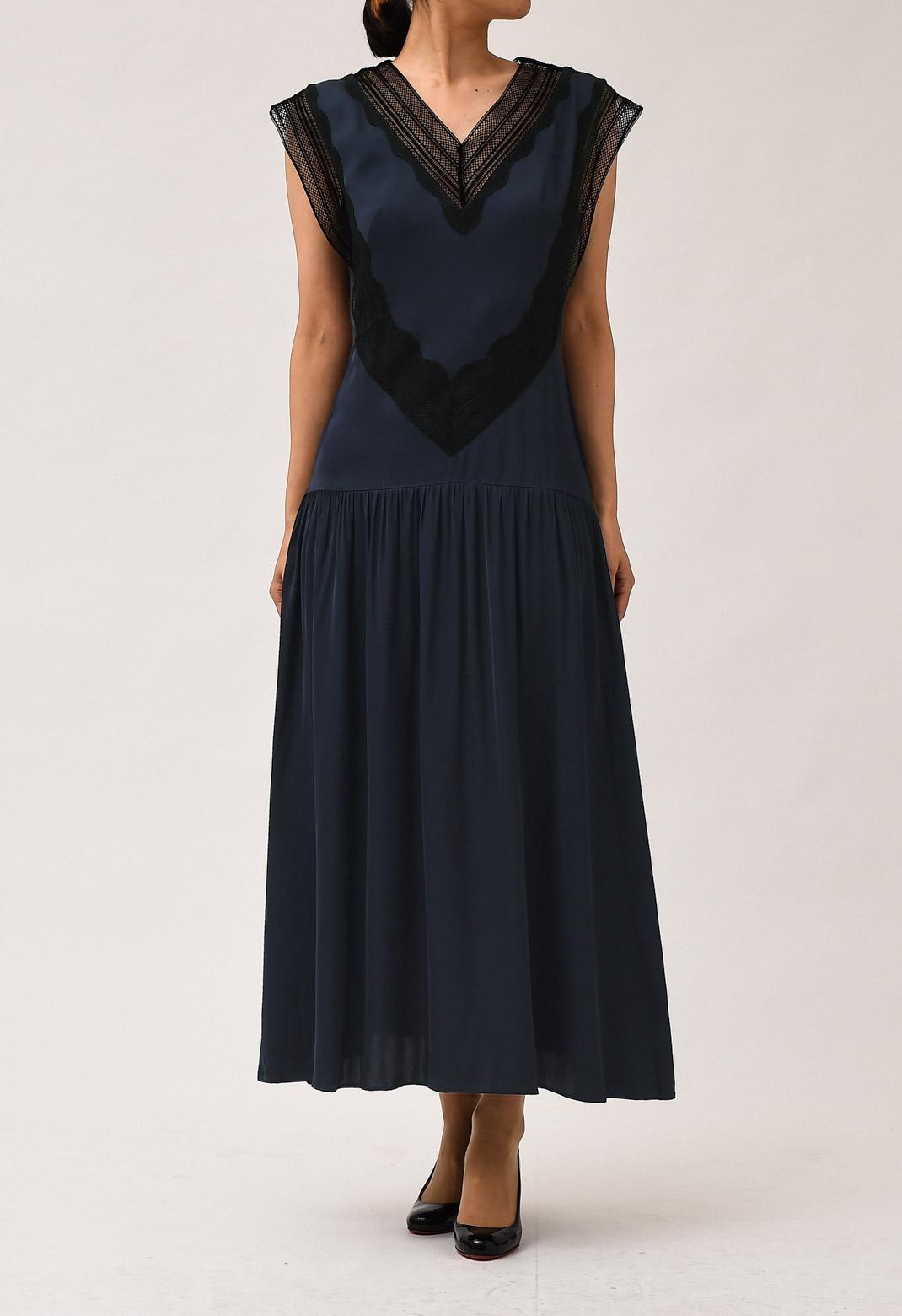 サテン× レース フレンチスリーブ ロング ドレス