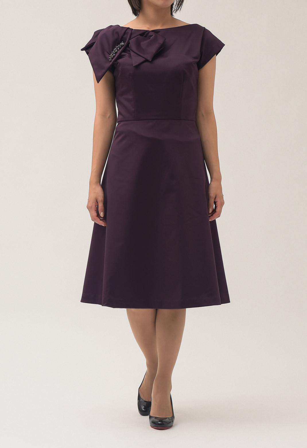 ビジュー× リボン ストレッチ 半袖 ドレス