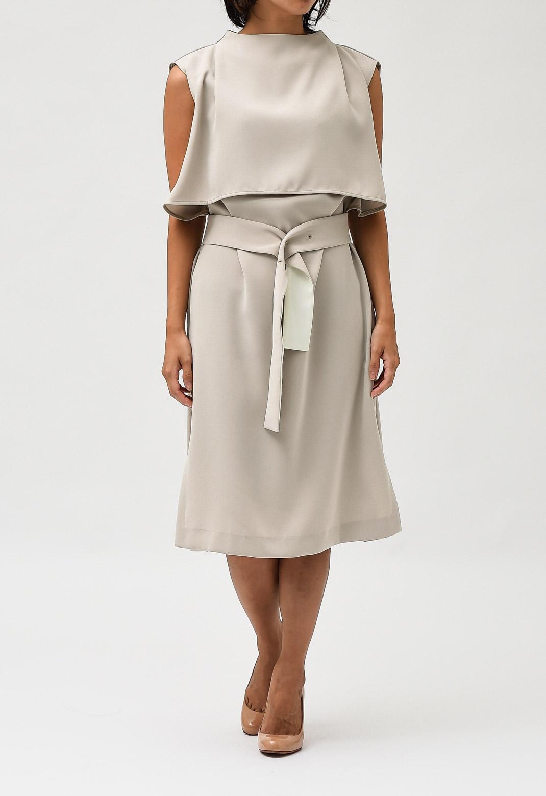 ベルト付き スタンドカラー レイヤード ドレス