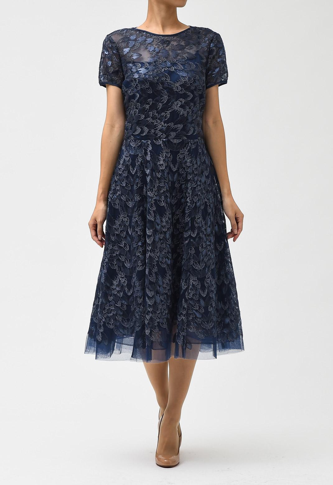 ラメ× スパンコール 刺繍 半袖 ドレス