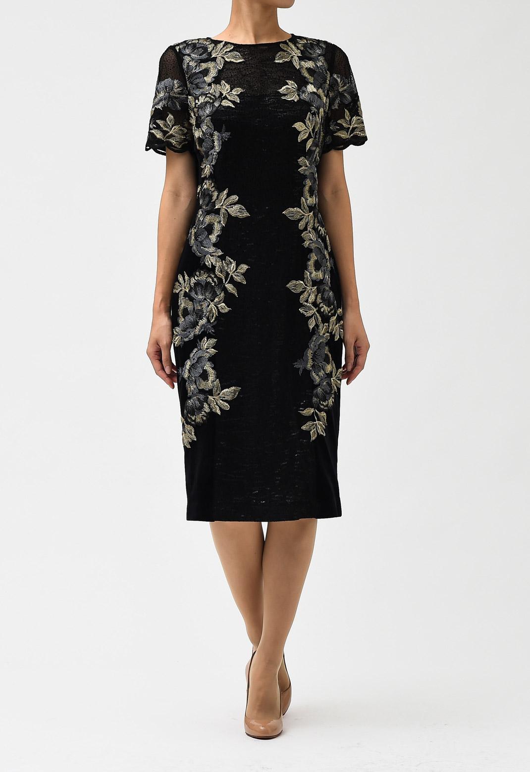 ベロア切替 フラワー 刺繍 半袖 ドレス