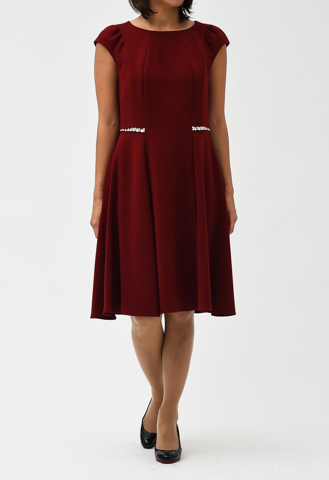 ビジュー飾り フレンチスリーブ ドレス