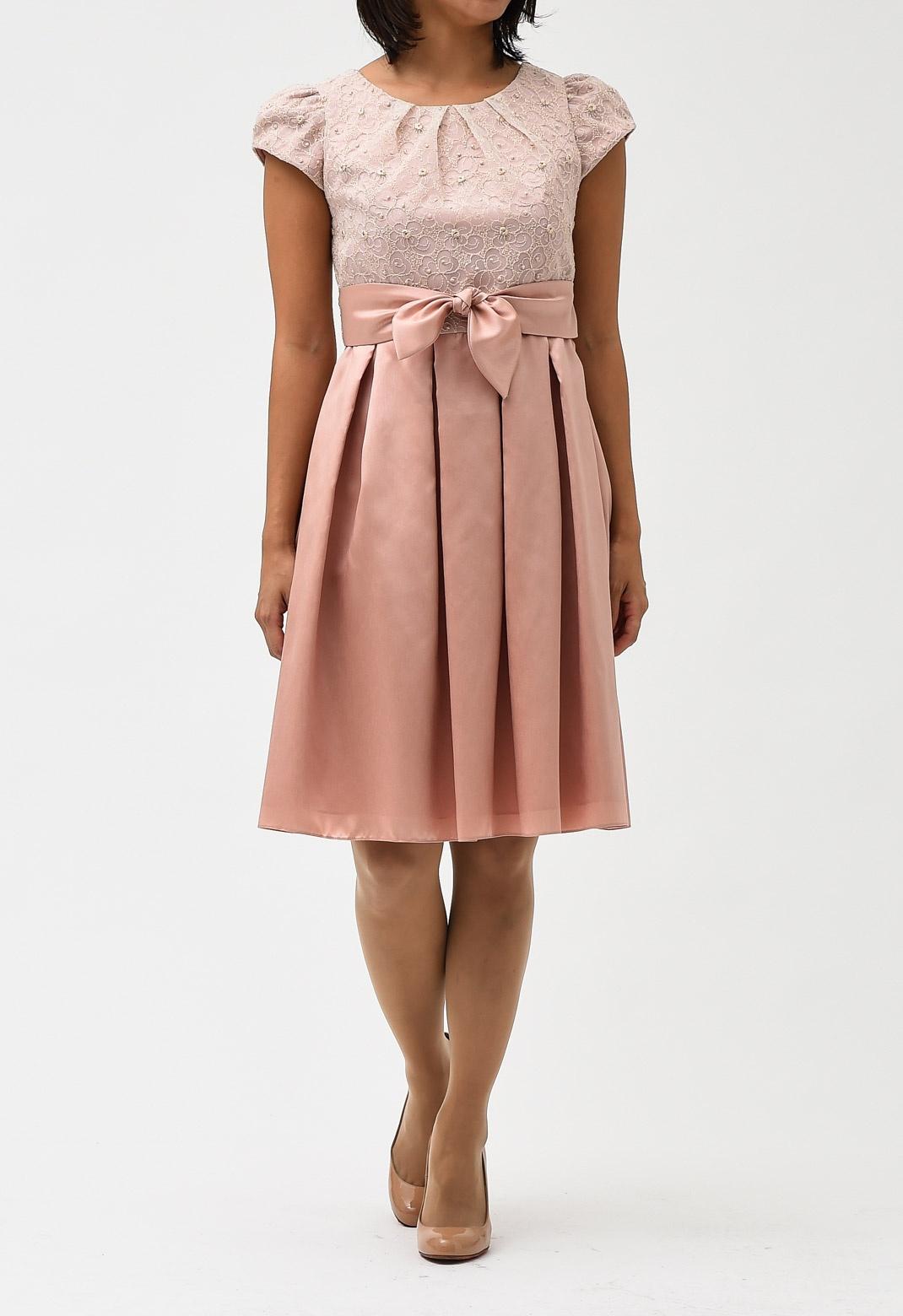 ゴールド ラメ 刺繍 ウエストリボン ドレス