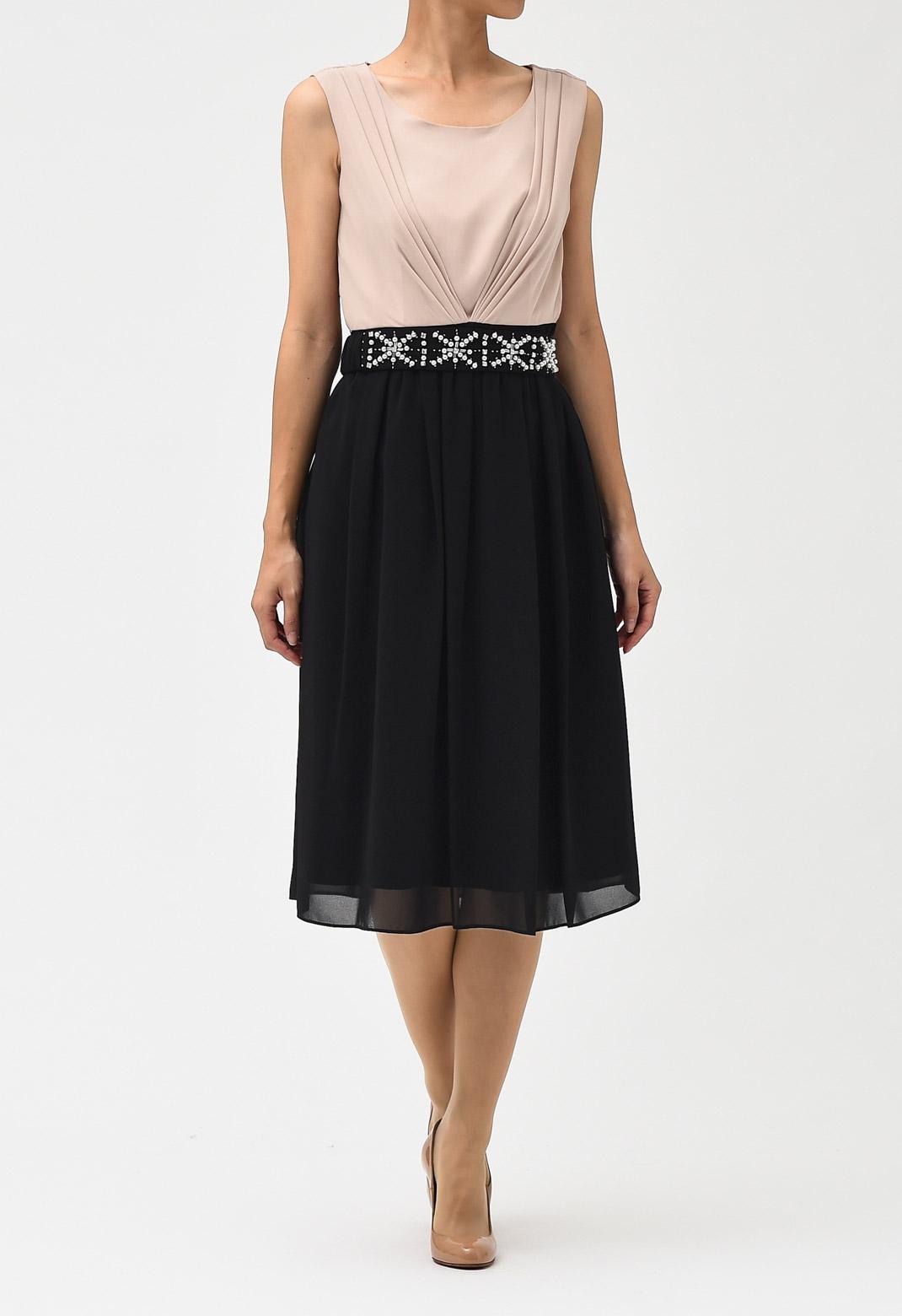 ビジュー ベルト付き ロング ドレス