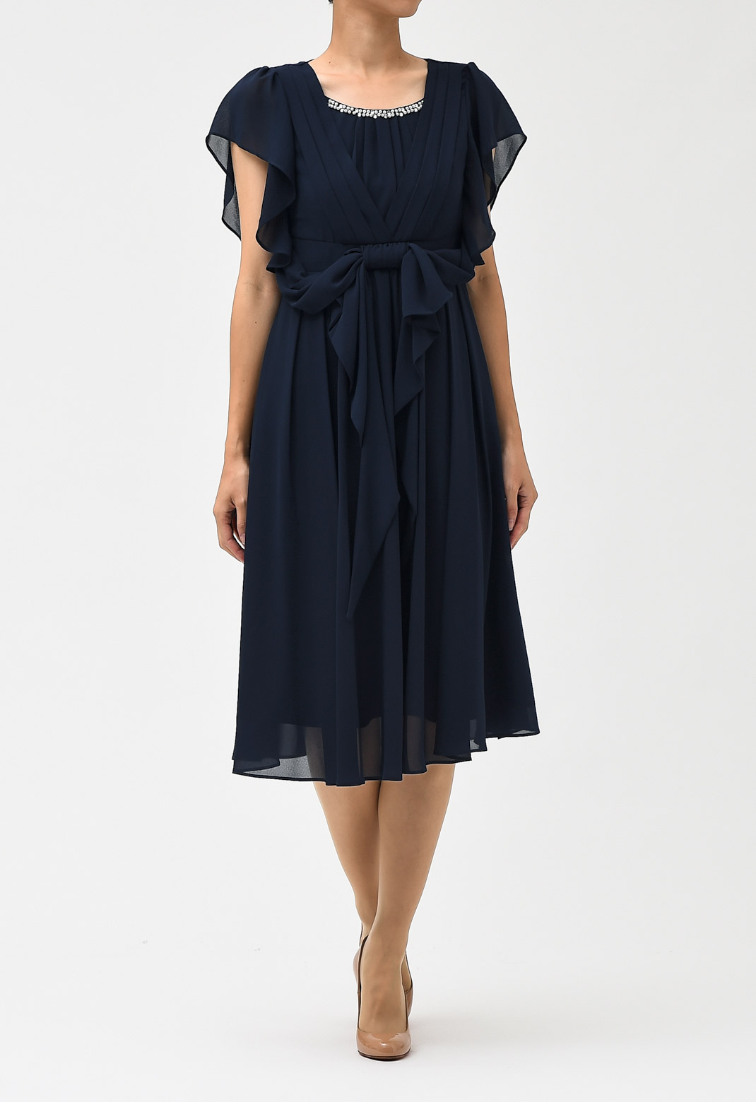 シフォン フリル袖 ビジュー飾り ドレス