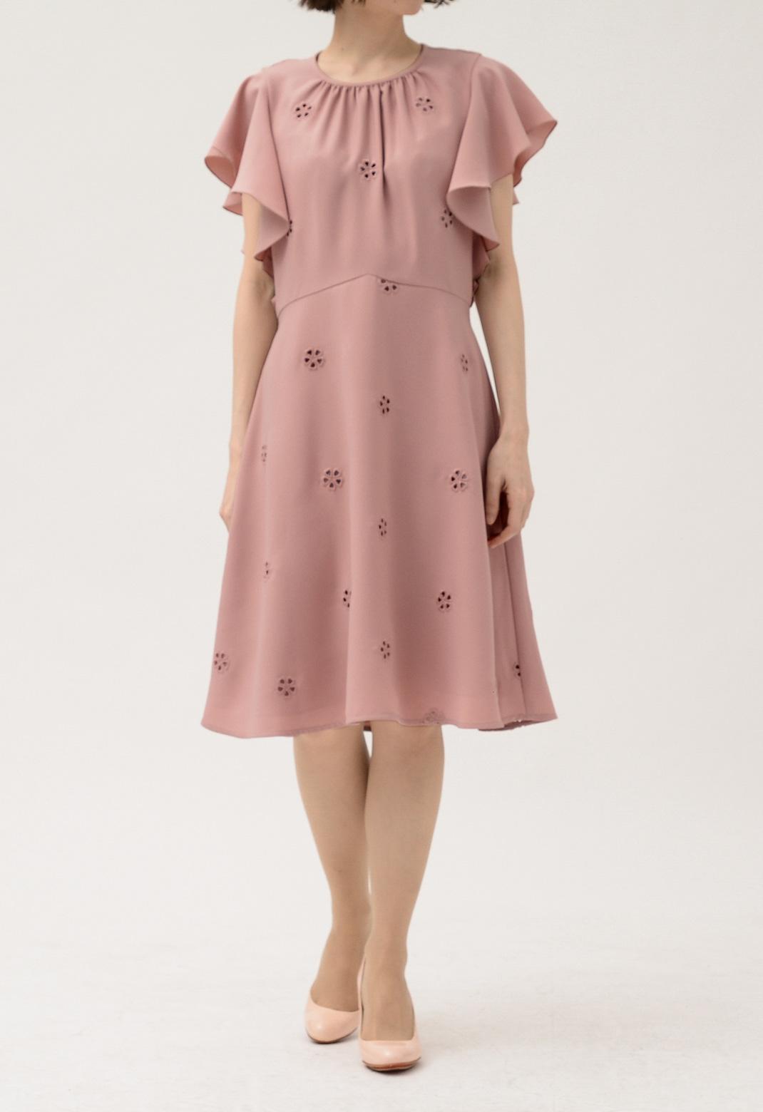 ケイトスペード フリル袖 花柄 アイレット 刺繍 ドレス